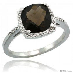 Sterling Silver Diamond Natural Smoky Topaz Ring 2.08 ct Cushion cut 8 mm Stone 1/2 in wide