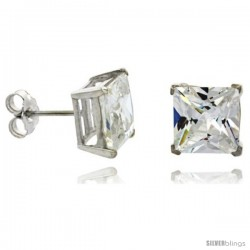 Sterling Silver Princess cut Cubic Zirconia Stud Earrings Basket Setting 9 mm 8 cttw