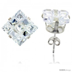 Sterling Silver Princess cut Cubic Zirconia Stud Earrings Invisible Cut 11 cttw