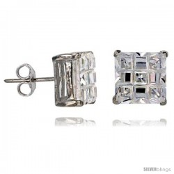 Sterling Silver Cubic Zirconia Stud Earrings 10 mm Square Invisible Cut Basket Set 11 cttw