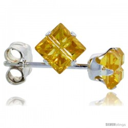 Sterling Silver Princess cut Cubic Zirconia Stud Earrings Citrine Yellow Color Invisible Cut 3/4 cttw