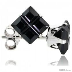 Sterling Silver Princess cut Cubic Zirconia Stud Earrings Black Color Invisible Cut 1.5 cttw