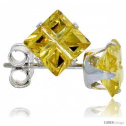Sterling Silver Princess cut Cubic Zirconia Stud Earrings Citrine Yellow Color Invisible Cut 1.5 cttw
