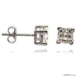 Sterling Silver Cubic Zirconia Stud Earrings 5 mm Square Invisible Cut Basket Set 1 1/2 cttw
