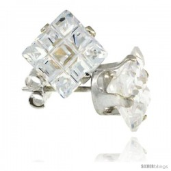 Sterling Silver Princess cut Cubic Zirconia Stud Earrings Invisible Cut 4 cttw