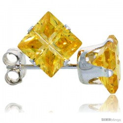 Sterling Silver Princess cut Cubic Zirconia Stud Earrings Citrine Yellow Color Invisible Cut 4 cttw