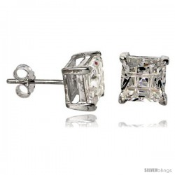 Sterling Silver Cubic Zirconia Stud Earrings 7 mm Square Invisible Cut Basket Set 4 cttw