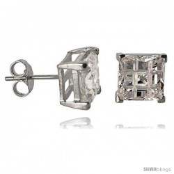 Sterling Silver Cubic Zirconia Stud Earrings 8 mm Square Invisible Cut Basket Set 6 cttw