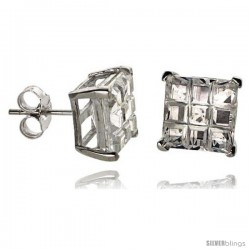 Sterling Silver Cubic Zirconia Stud Earrings 9 mm Square Invisible Cut Basket Set 8 cttw