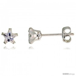 Sterling Silver Cubic Zirconia Stud Earrings 4 mm Star Shape
