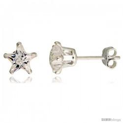 Sterling Silver Cubic Zirconia Stud Earrings 6 mm Star Shape