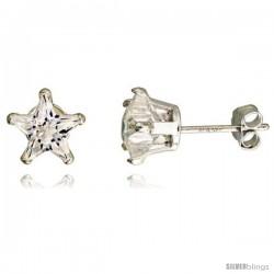 Sterling Silver Cubic Zirconia Stud Earrings 7 mm Star Shape