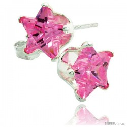 Sterling Silver Cubic Zirconia Stud Earrings 7 mm Star Shape Pink colored