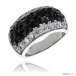 "Sterling Silver Dome Ring, Rhodium Plated w/ 10 White & 28 Black 2mm CZ's, 7/16"" (11 mm) wide"