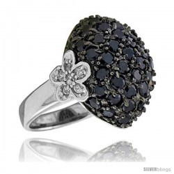 "Sterling Silver Floral Ring, Rhodium Plated w/ 12 White & 45 Black 2mm CZ's, 3/4"" (19 mm) wide"