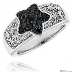 "Sterling Silver Star Ring, Rhodium Plated w/ 18 White & 11 Black 2mm CZ's, 7/16"" (10 mm) wide"
