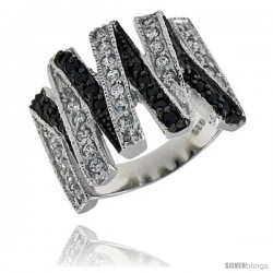 "Sterling Silver Zigzag Ring, Rhodium Plated w/ 30 White & 18 Black CZ's, 11/16"" (17 mm) wide"