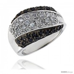 "Sterling Silver Dome Ring, Rhodium Plated w/ 25 White & 22 Black CZ's, 9/16"" (14 mm) wide"