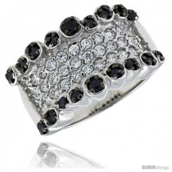 "Sterling Silver Band, Rhodium Plated w/ 2mm & 3mm Black & White CZ's, 1/2"" (13 mm) wide"