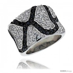 "Sterling Silver Freeform Band, Rhodium Plated w/ 56 White & 40 Black CZ's, 9/16"" (15 mm) wide"