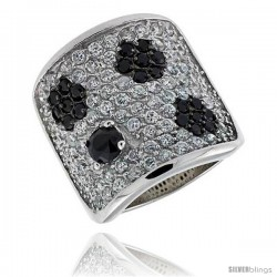 "Sterling Silver Floral Band, Rhodium Plated w/ 2mm Black & White CZ's, 13/16"" (21 mm) wide"