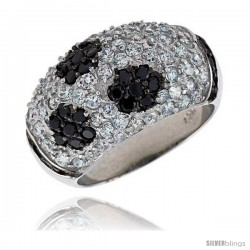 """Sterling Silver Floral Designed Dome Ring, Rhodium Plated w/ 2mm CZ's, 9/16"""" (14 mm) wide"""