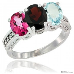 14K White Gold Natural Pink Topaz, Garnet & Aquamarine Ring 3-Stone 7x5 mm Oval Diamond Accent