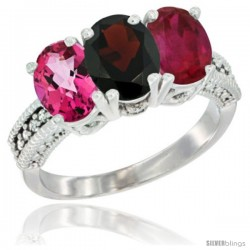 14K White Gold Natural Pink Topaz, Garnet & Ruby Ring 3-Stone 7x5 mm Oval Diamond Accent