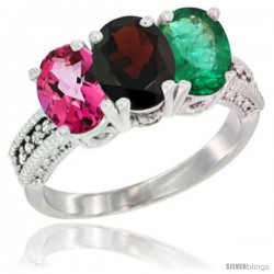 14K White Gold Natural Pink Topaz, Garnet & Emerald Ring 3-Stone 7x5 mm Oval Diamond Accent