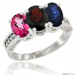 14K White Gold Natural Pink Topaz, Garnet & Blue Sapphire Ring 3-Stone 7x5 mm Oval Diamond Accent