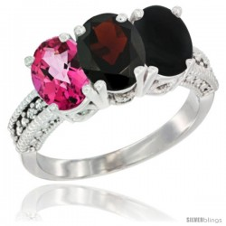 14K White Gold Natural Pink Topaz, Garnet & Black Onyx Ring 3-Stone 7x5 mm Oval Diamond Accent