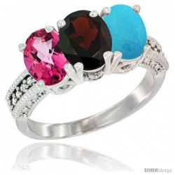 14K White Gold Natural Pink Topaz, Garnet & Turquoise Ring 3-Stone 7x5 mm Oval Diamond Accent