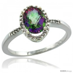 10k White Gold Diamond Mystic Topaz Ring 1.17 ct Oval Stone 8x6 mm, 3/8 in wide
