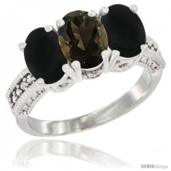 14K White Gold Natural Smoky Topaz & Black Onyx Sides Ring 3-Stone 7x5 mm Oval Diamond Accent
