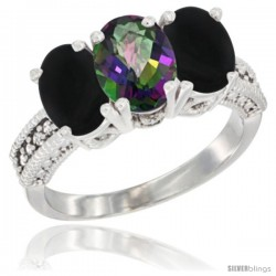 14K White Gold Natural Mystic Topaz & Black Onyx Sides Ring 3-Stone 7x5 mm Oval Diamond Accent
