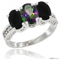 14K White Gold Natural Mystic Topaz & Black Onyx Sides Ring 3-Stone 7x5 mm Oval Diamond Accent