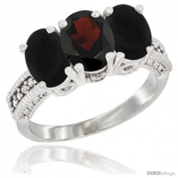 14K White Gold Natural Garnet & Black Onyx Sides Ring 3-Stone 7x5 mm Oval Diamond Accent