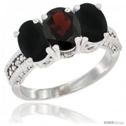 14K White Gold Natural Garnet & Black Onyx Sides Ring 3-Stone 7x5 mm Oval Diamond Accent