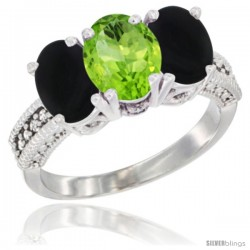 14K White Gold Natural Peridot & Black Onyx Sides Ring 3-Stone 7x5 mm Oval Diamond Accent