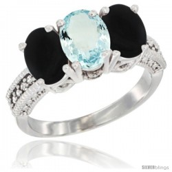 14K White Gold Natural Aquamarine & Black Onyx Sides Ring 3-Stone 7x5 mm Oval Diamond Accent