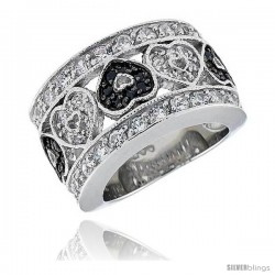 "Sterling Silver & Rhodium Plated Hearts Band, w/ Tiny High Quality Black & White CZ's, 9/16"" (14 mm) wide"
