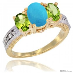 14k Yellow Gold Ladies Oval Natural Turquoise 3-Stone Ring with Peridot Sides Diamond Accent