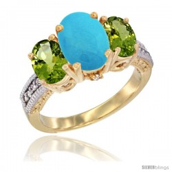 14K Yellow Gold Ladies 3-Stone Oval Natural Turquoise Ring with Peridot Sides Diamond Accent