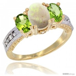 14k Yellow Gold Ladies Oval Natural Opal 3-Stone Ring with Peridot Sides Diamond Accent