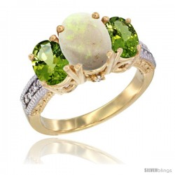 14K Yellow Gold Ladies 3-Stone Oval Natural Opal Ring with Peridot Sides Diamond Accent