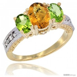 14k Yellow Gold Ladies Oval Natural Whisky Quartz 3-Stone Ring with Peridot Sides Diamond Accent