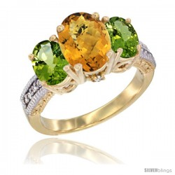 14K Yellow Gold Ladies 3-Stone Oval Natural Whisky Quartz Ring with Peridot Sides Diamond Accent