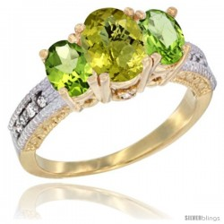 14k Yellow Gold Ladies Oval Natural Lemon Quartz 3-Stone Ring with Peridot Sides Diamond Accent