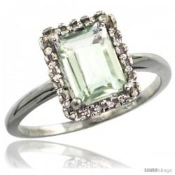 10k White Gold Diamond Green-Amethyst Ring 1.6 ct Emerald Shape 8x6 mm, 1/2 in wide