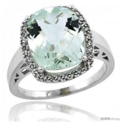 10k White Gold Diamond Green-Amethyst Ring 5.17 ct Checkerboard Cut Cushion 12x10 mm, 1/2 in wide